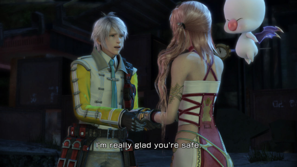 A screenshot of Final Fantasy XIII-2 showing Hope with Serah