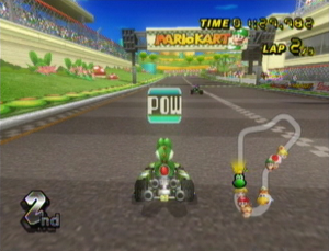 A screenshot of Mario Kart Wii showing the POW Block about to activate